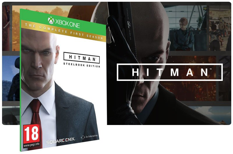 Banner do game Hitman The Complete First Season em mídia digital para Xbox One