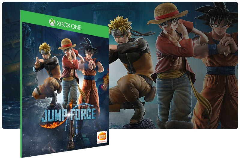 Banner do game JUMP FORCE em mídia digital para Xbox One