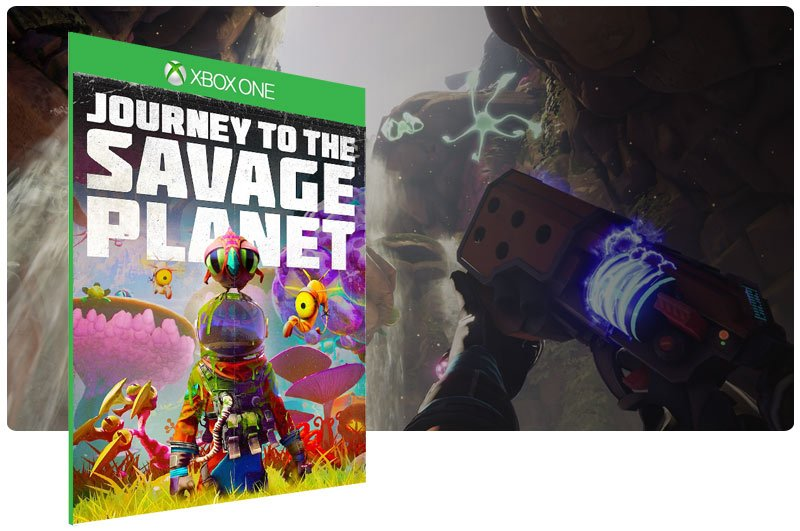 Banner do game Journey to the Savage Planet em mídia digital para Xbox One
