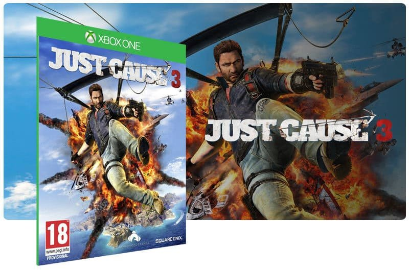 Banner do game Just Cause 3 em mídia digital para Xbox One