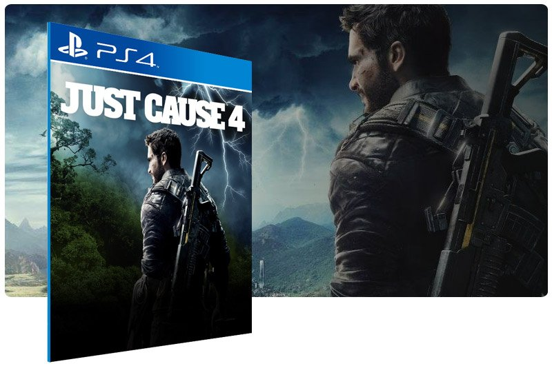 Banner do game Just Cause 4 Standard Edition em mídia digital para PS4