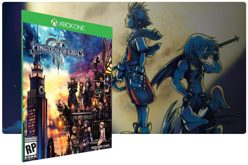 Banner do game KINGDOM HEARTS III em mídia digital para Xbox One