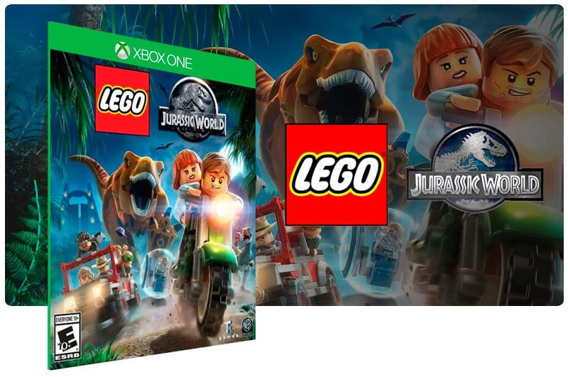 Banner do game Lego Jurassic World em mídia digital para Xbox One