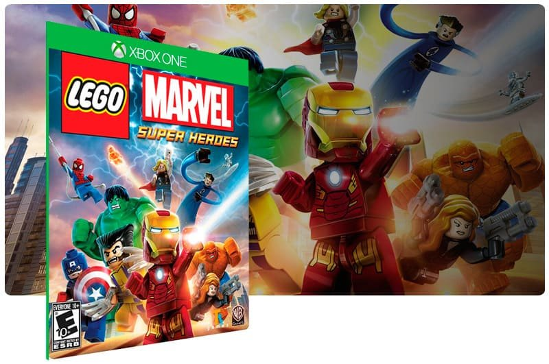 Banner do game Lego Marvel Super Heroes em mídia digital para Xbox One