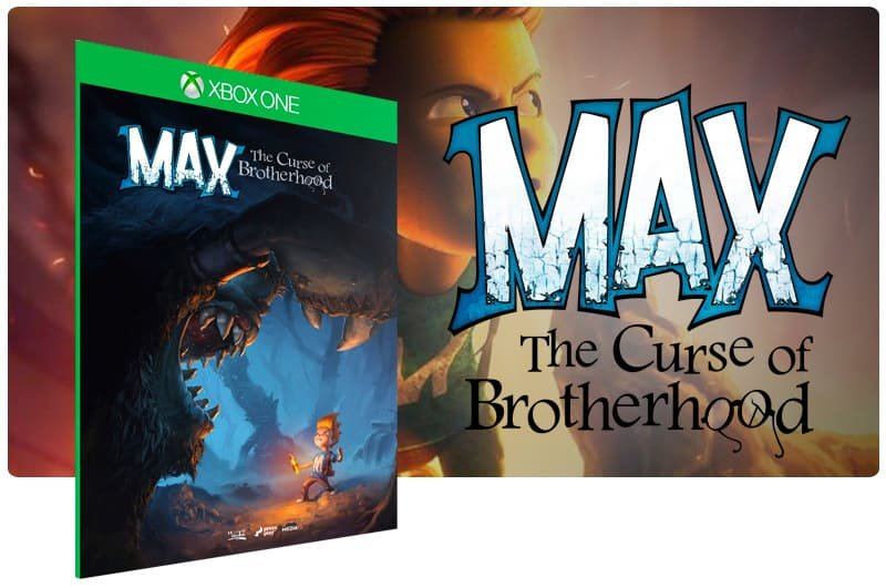 Banner do game Max: The Curse of Brotherhood em mídia digital para Xbox One