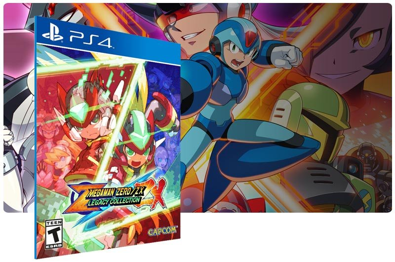 Banner do game Mega Man Zero/ZX Legacy Collection em mídia digital para PS4