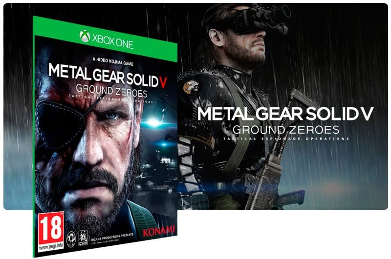 Banner do game Metal Gear Solid V: Ground Zeroes em mídia digital para Xbox One