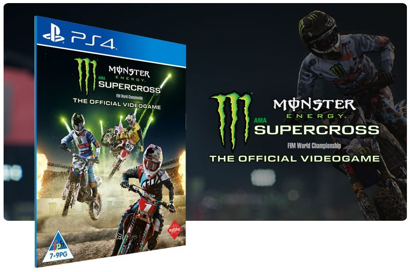 Banner do game Monster Energy Supercross The Official Videogame em mídia digital para PS4