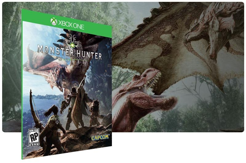 Banner do game Monster Hunter World em mídia digital para Xbox One