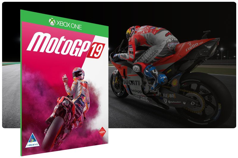 Banner do game MotoGP19 em mídia digital para Xbox One