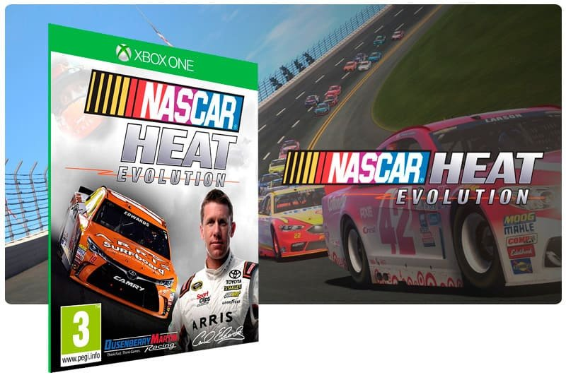 Banner do game Nascar Heat Evolution em mídia digital para Xbox One
