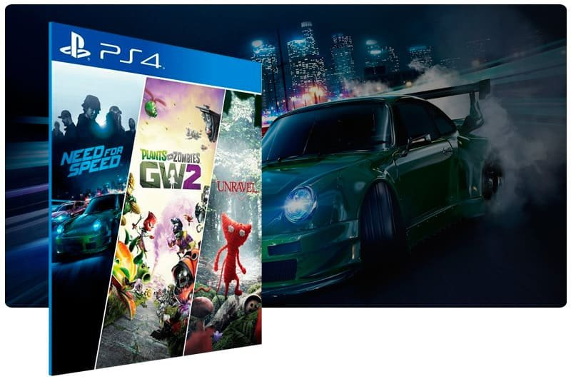Banner do game Need for Speed + Plants vs Zombie 2 + Unravel para PS4