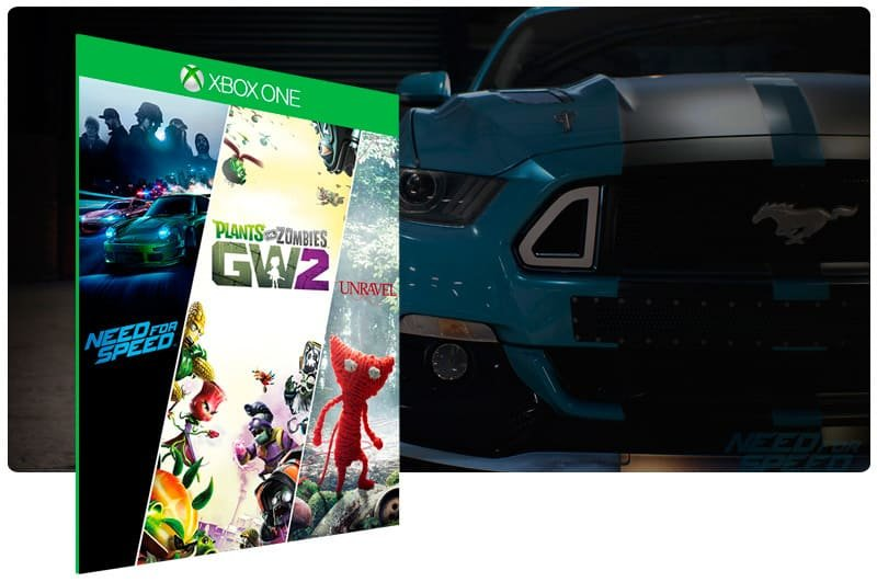 Banner do game Need for Speed + Plants vs Zombie 2 + Unravel em mídia digital para Xbox One