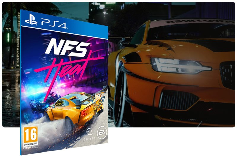 Banner do game Need for Speed Heat Standard Edition em mídia digital para PS4
