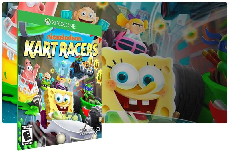 Banner do game Nickelodeon Kart Racers em mídia digital para Xbox One