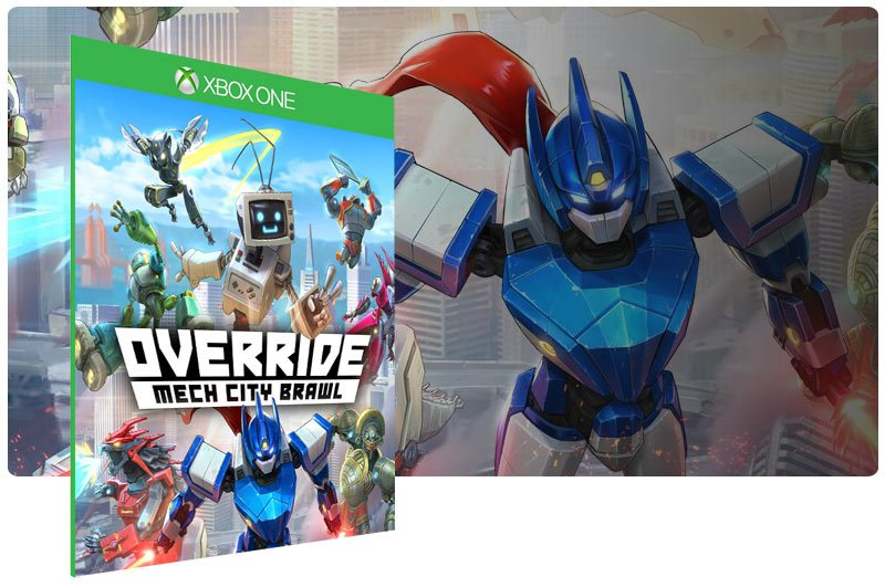 Banner do game Override Mech City Brawl em mídia digital para Xbox One