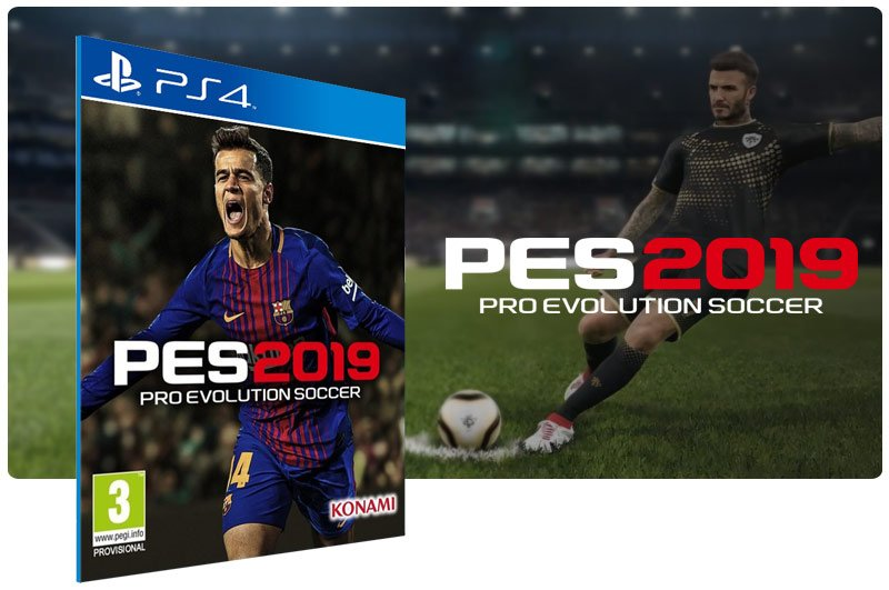 Banner do game PES 19 Standard Edition em mídia digital para PS4