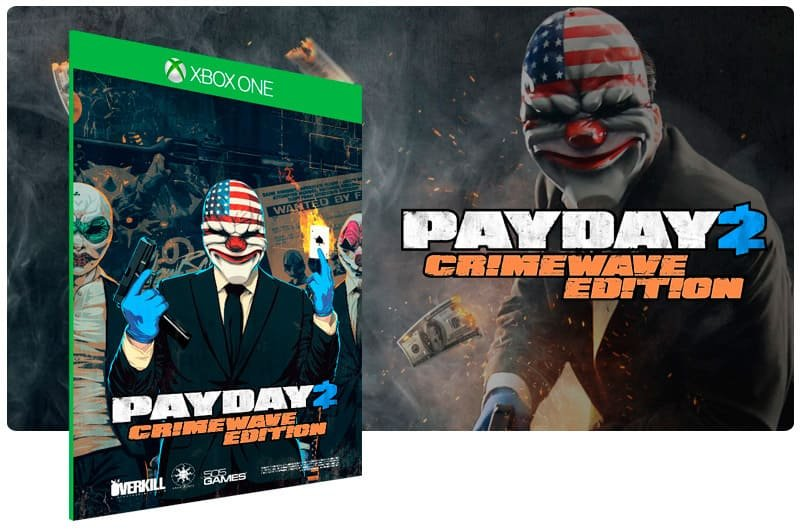 Banner do game Payday 2: Crimewave Edition em mídia digital para Xbox One