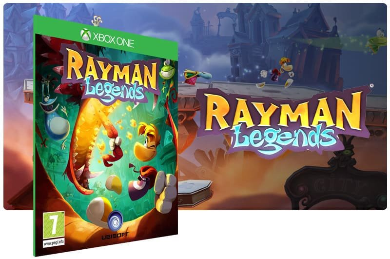 Banner do game Rayman Legends em mídia digital para Xbox One