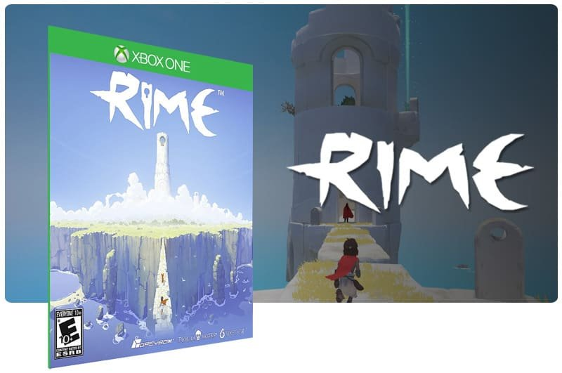 Banner do game Rime em mídia digital para Xbox One