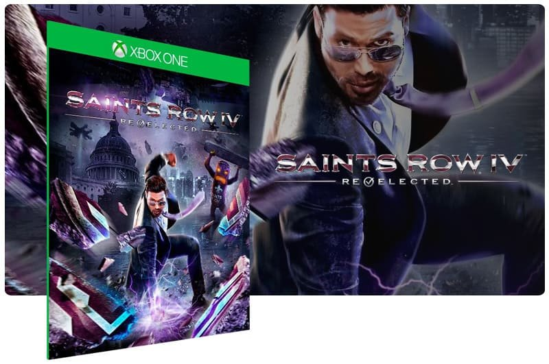 Banner do game Saints Row IV: Re Elected em mídia digital para Xbox One