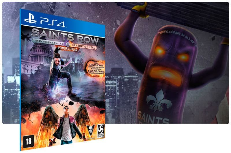 Banner do game Saints Row Re Elected & Gat Out Of Hell para PS4