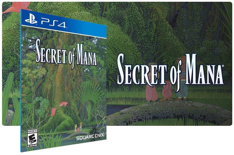 Banner do game Secret of Mana em mídia digital para PS4