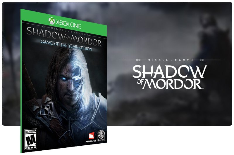 Banner do game Middle-Earth: Shadow of Mordor em mídia digital para Xbox One