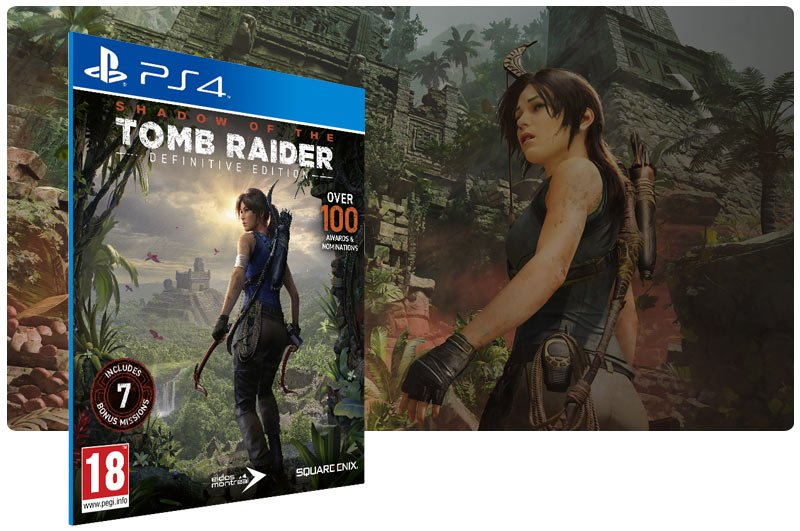 Banner do game Shadow of the Tomb Raider Definitive Edition em mídia digital para PS4