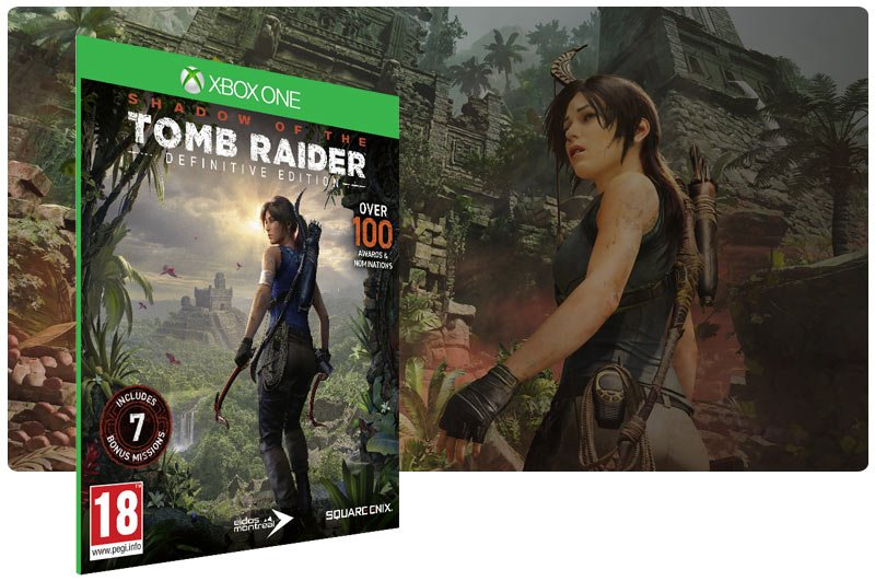 Banner do game Shadow of the Tomb Raider Definitive Edition em mídia digital para Xbox One