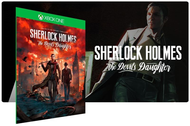 Banner do game Sherlock Holmes: The Devils Daughter em mídia digital para Xbox One