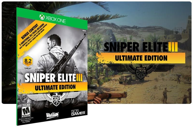Banner do game Sniper Elite 3: Ultimate Edition em mídia digital para Xbox One
