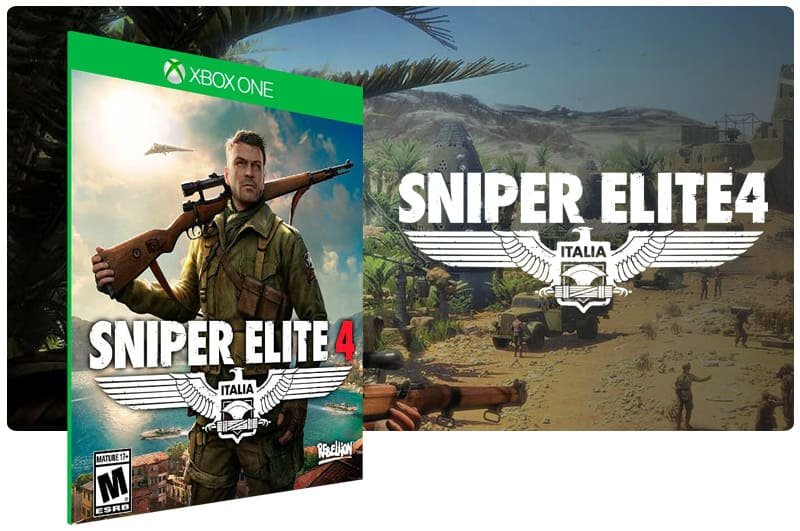 Banner do game Sniper Elite 4 em mídia digital para Xbox One