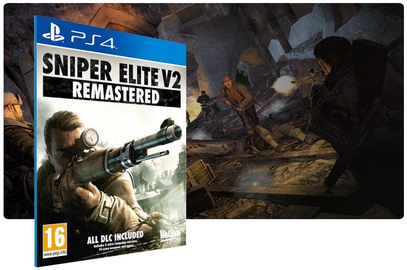 Banner do game Sniper Elite V2 Remastered em mídia digital para PS4