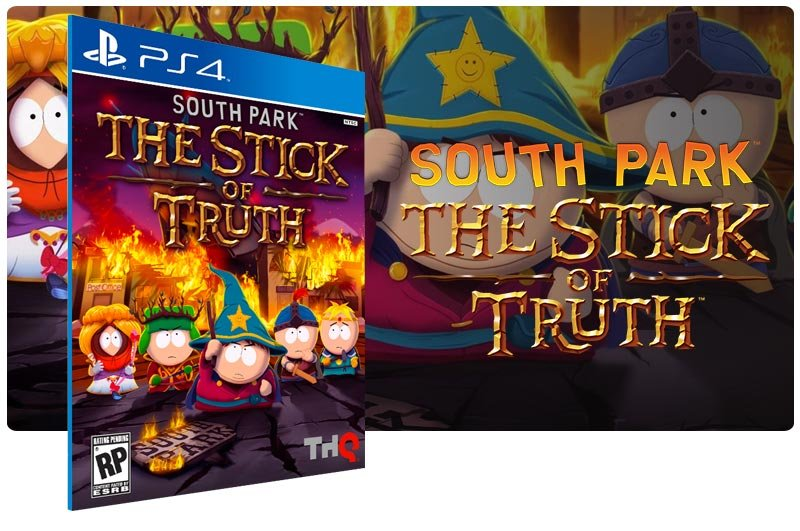 Banner do game South Park The Stick of Truth em mídia digital para PS4