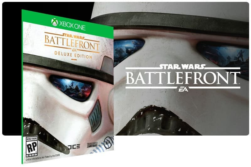 Banner do game Star Wars Battlefront Deluxe Edition em mídia digital para Xbox One