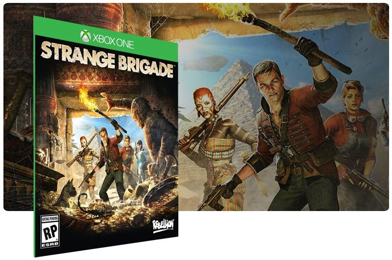 Banner do game Strange Brigade em mídia digital para Xbox One