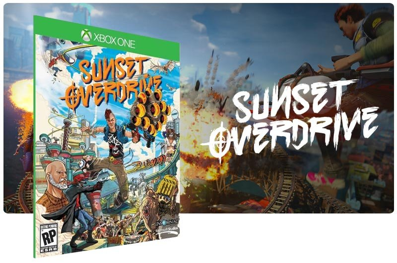 Banner do game Sunset Overdrive em mídia digital para Xbox One