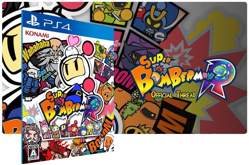 Banner do game Super Bomberman R em mídia digital para PS4