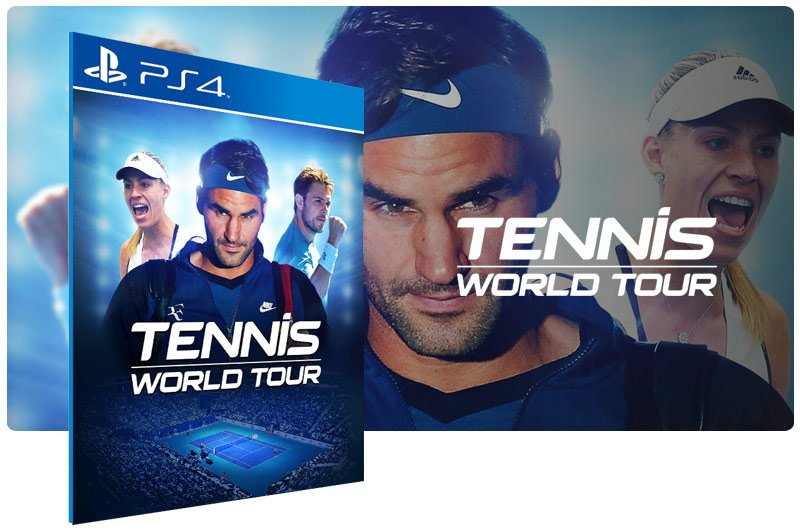 Banner do game Tennis World Tour em mídia digital para PS4