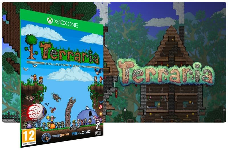 Banner do game Terraria em mídia digital para Xbox One
