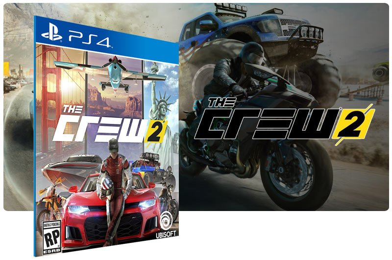 Banner do game The Crew 2 em mídia digital para PS4