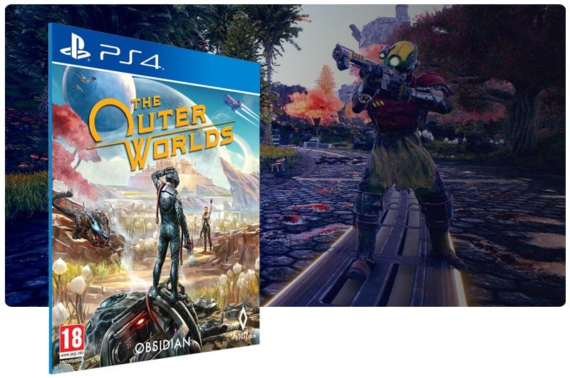 Banner do game The Outer Worlds em mídia digital para PS4