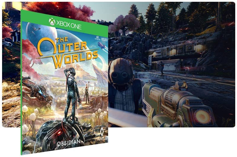 Banner do game The Outer Worlds em mídia digital para Xbox One