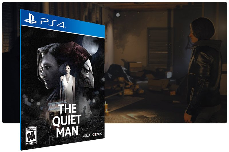 Banner do game The Quiet Man em mídia digital para PS4