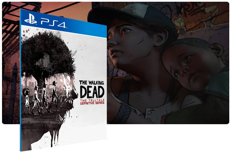 Banner do game The Walking Dead: The Telltale Definitive Series em mídia digital para PS4