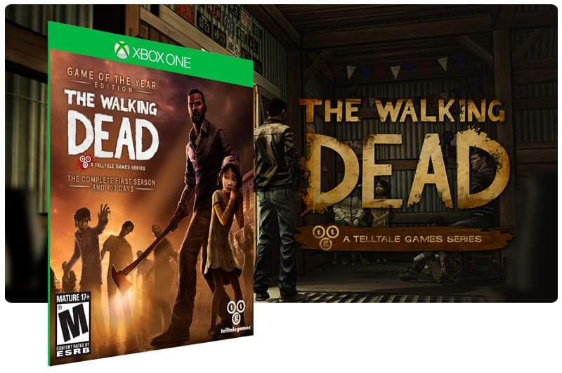 Banner do game The Walking Dead: The Complete First Season em mídia digital para Xbox One