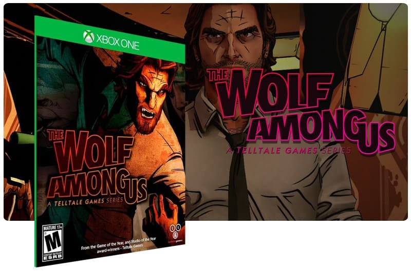 Banner do game The Wolf Among Us em mídia digital para Xbox One