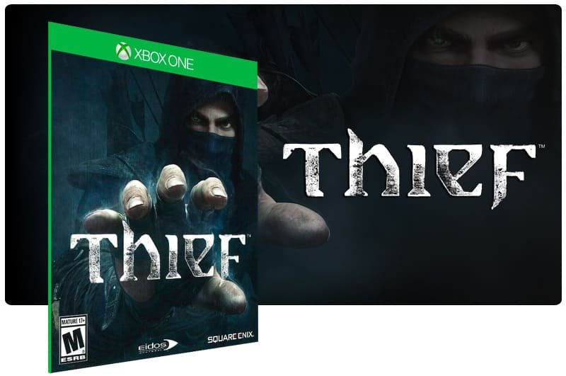 Banner do game Thief em mídia digital para Xbox One