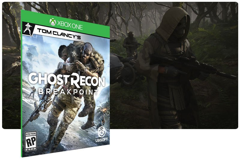 Banner do game Tom Clancy's Ghost Recon Breakpoint em mídia digital para Xbox One